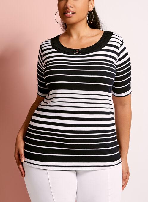 Stripe Print Ring Trim T-Shirt, Blue, hi-res
