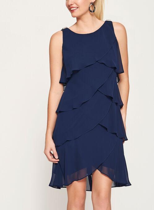 Crystal Detail Tiered Chiffon Dress, Blue, hi-res