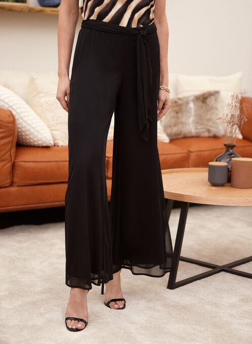 Wide Leg Mesh Pants, Black, hi-res