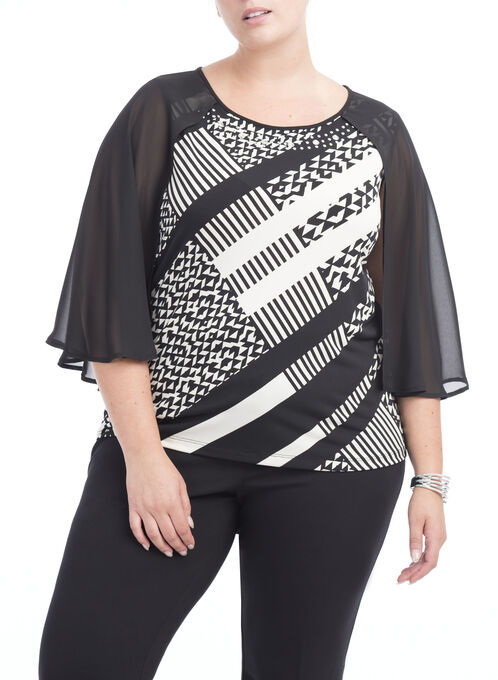 Flutter Sleeve Geo Print Top , White, hi-res