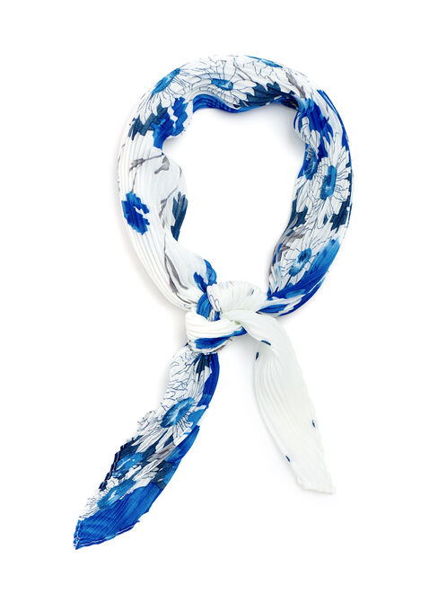 Pleated Floral Print Neckerchief, Blue, hi-res