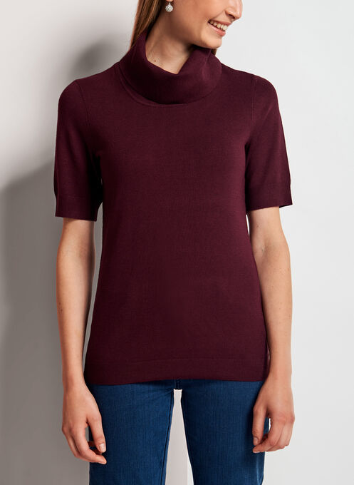 Cowl Neck Short Sleeve Sweater, Red, hi-res