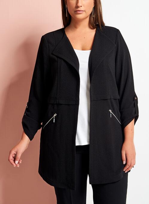 Open Front Zipper Trim Crepe Jacket, Black, hi-res