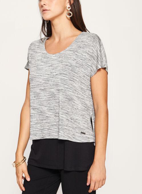 Heather Print Layered Jersey Top, Grey, hi-res