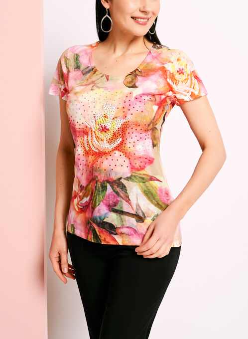 Crystal Embellished Floral Print T-Shirt, Orange, hi-res