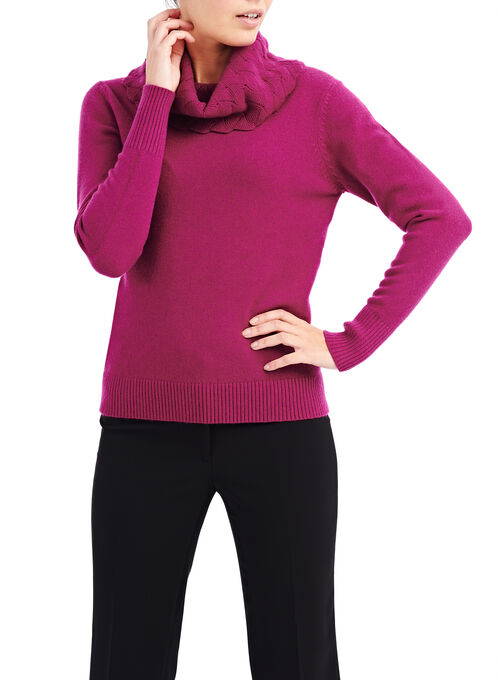 Cowl Neck Pointelle Sweater, Red, hi-res