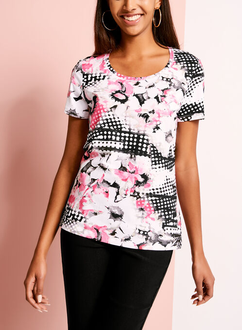 Abstract Floral Print T-Shirt, Red, hi-res