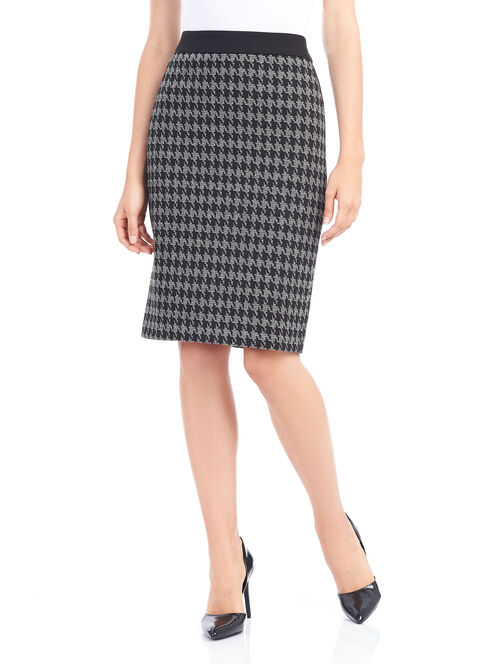 Houndstooth Knit Pencil Skirt, Black, hi-res