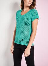 Short Sleeve Crochet Sweater, Blue, hi-res