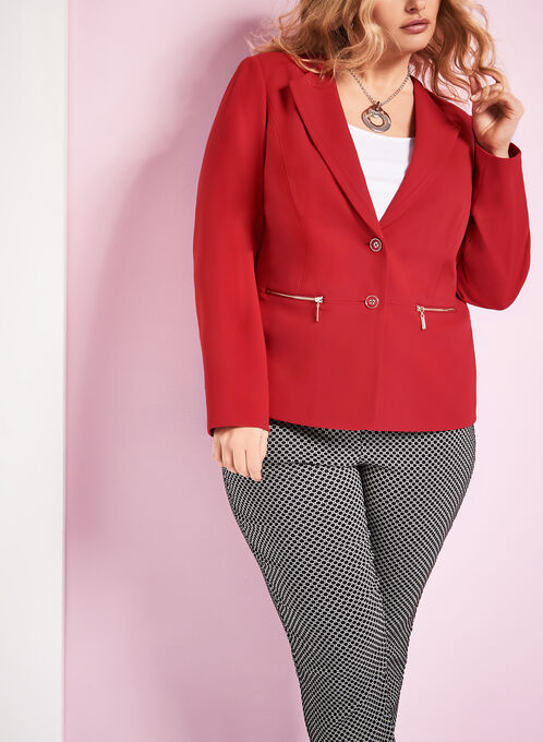 Crêpe Zipper Trim Blazer, Red, hi-res
