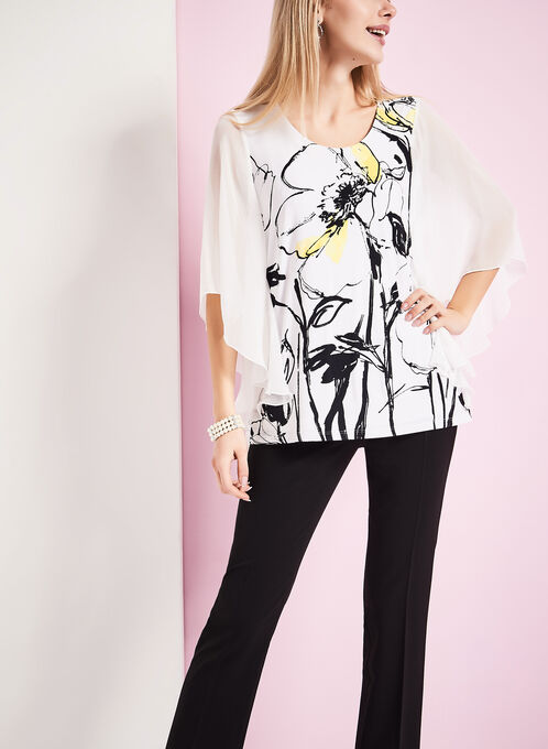 3/4 Sleeve Chiffon Floral Print Top, White, hi-res