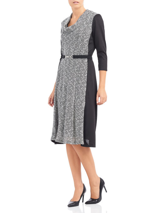 Tweed Cowl Neck Dress, Black, hi-res