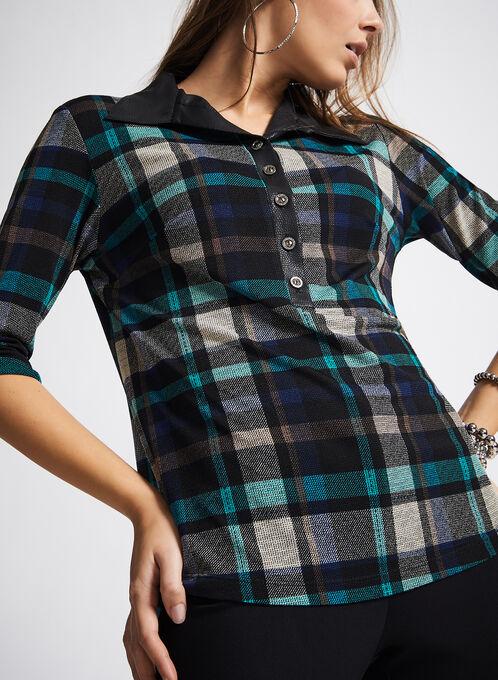 Faux Leather Trim Plaid Shirt, Blue, hi-res