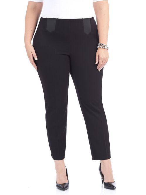 Elastic Inset Straight Leg Pants, Black, hi-res