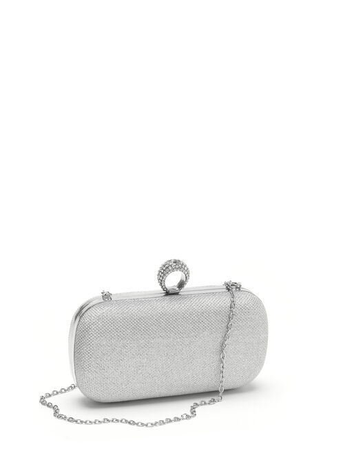 Metallic Box Clutch, Silver, hi-res