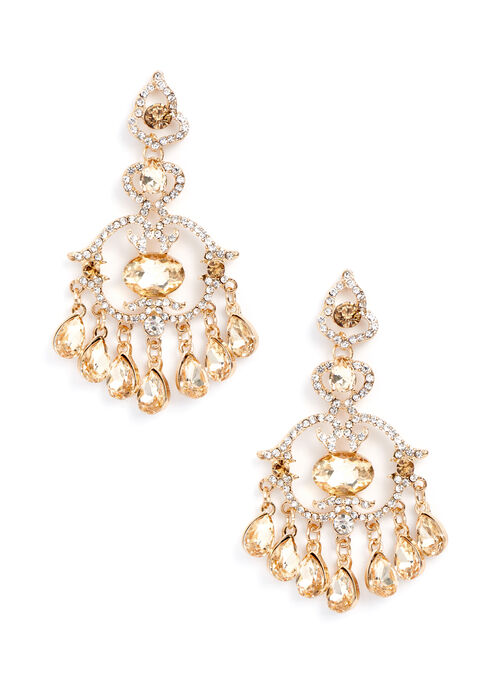 Teardrop Chandelier Earrings , Yellow, hi-res