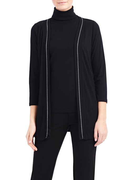 Long Sleeve Chain Trim Cardigan, Black, hi-res