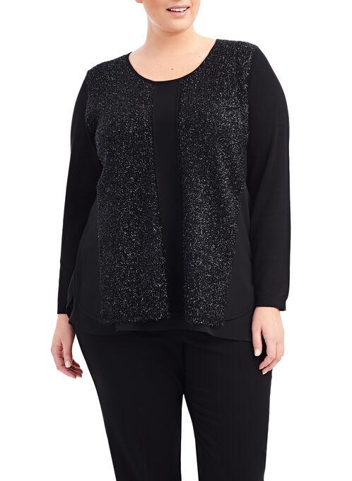 Long Sleeve Metallic Knit Top, Black, hi-res