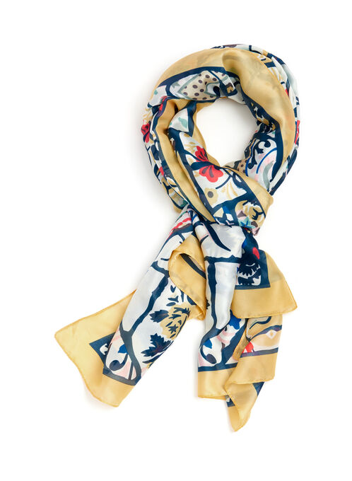 Stained Glass Floral Motif Scarf, Gold, hi-res