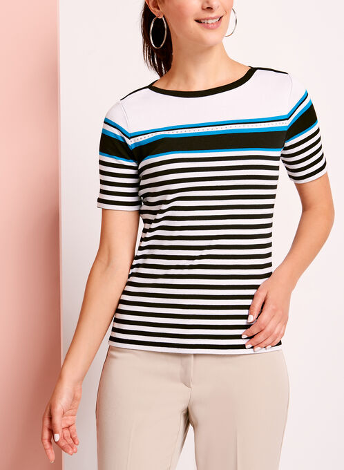 Embellished Stripe Print T-Shirt, Black, hi-res
