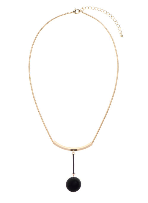 Geometric Snake Chain Necklace , Black, hi-res