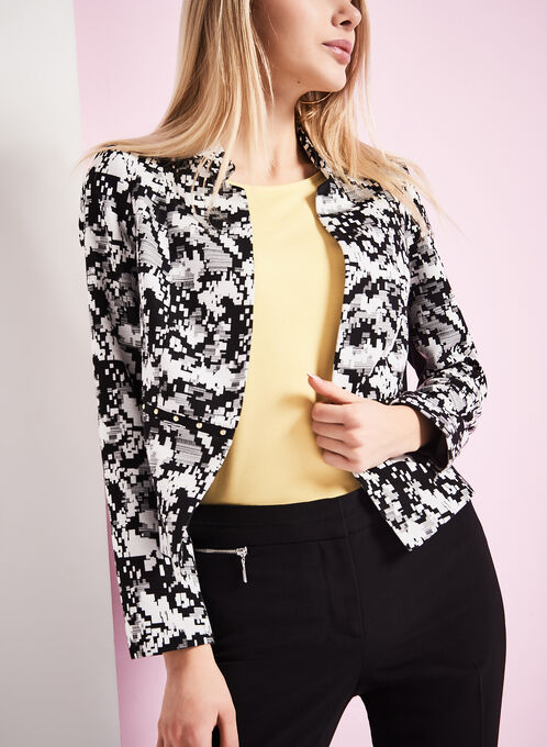 Stud & Abstract Print Jacket, Black, hi-res