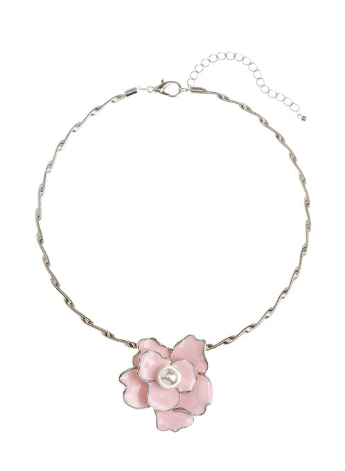 Pearl Center Floral Pendant Necklace, Pink, hi-res