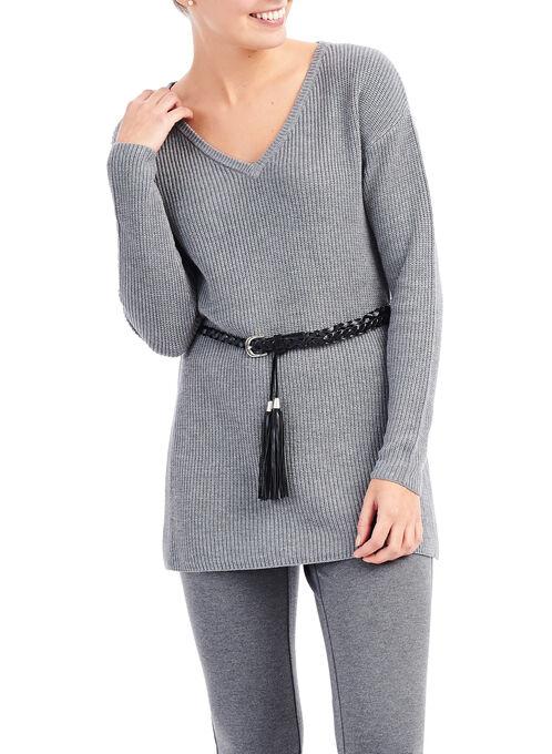Tunic Sweater with Tassel Belt, Grey, hi-res