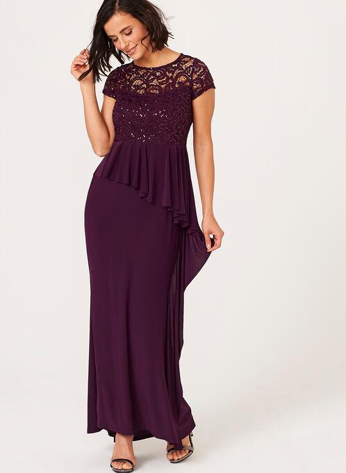 Sequin Lace Asymmetric Detail Dress , Purple, hi-res