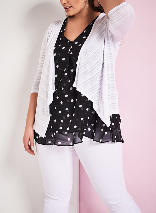 3/4 Sleeve Knit Cascade Cardigan, White, hi-res