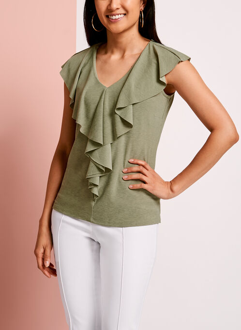 V-Neck Ruffle Front Top, Green, hi-res