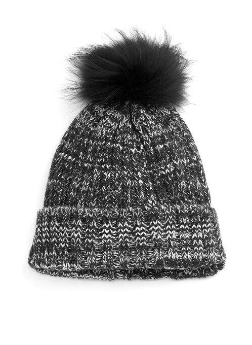 Melange Knit Pom-Pom Hat, Black, hi-res