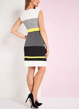 Crêpe Check Print Dress, White, hi-res