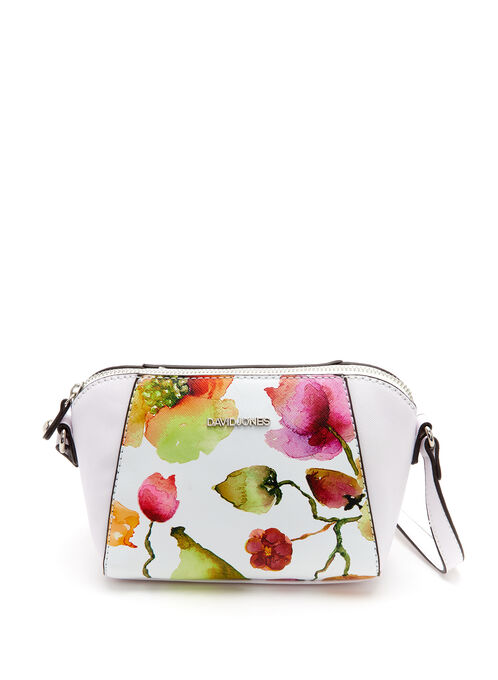 Floral Motif Crossbody Bag, White, hi-res