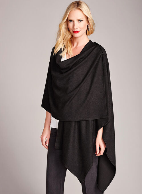 Draped Knit Ruana Poncho, Black, hi-res