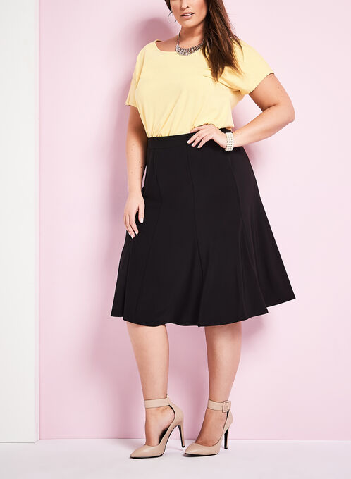 Pull-On A-Line Skirt , Black, hi-res