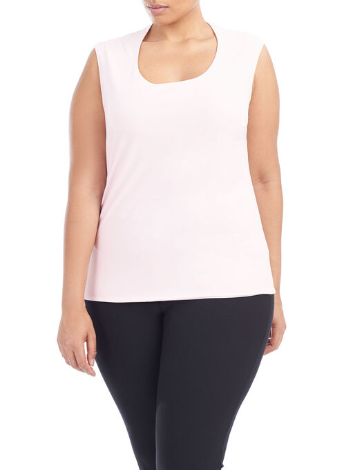 Horseshoe Neck Sleeveless Top, Pink, hi-res