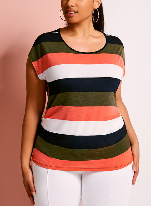 Keyhole Neck Stripe Print Top, Green, hi-res
