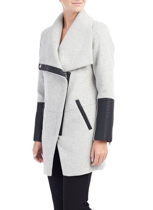 Marcona Asymmetrical Zip Wool Coat, Grey, hi-res