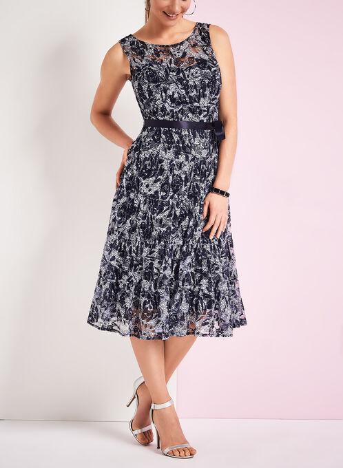 Abstract Print Midi Dress, Blue, hi-res