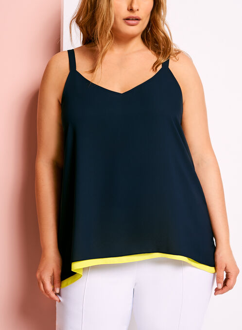 Reversible V-Neck Crepe Blouse, Blue, hi-res