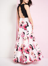 Lace & Floral Print Mermaid Gown, Black, hi-res