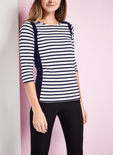 3/4 Sleeve Stripe Print T-Shirt , Blue, hi-res