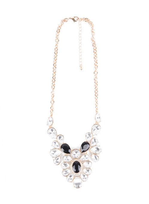 Crystal Teardrop Necklace , Black, hi-res