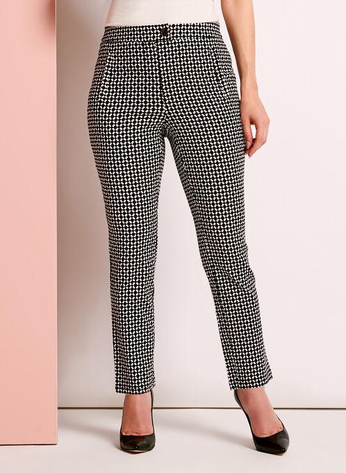 Graphic Print Slim Leg Pants, Black, hi-res