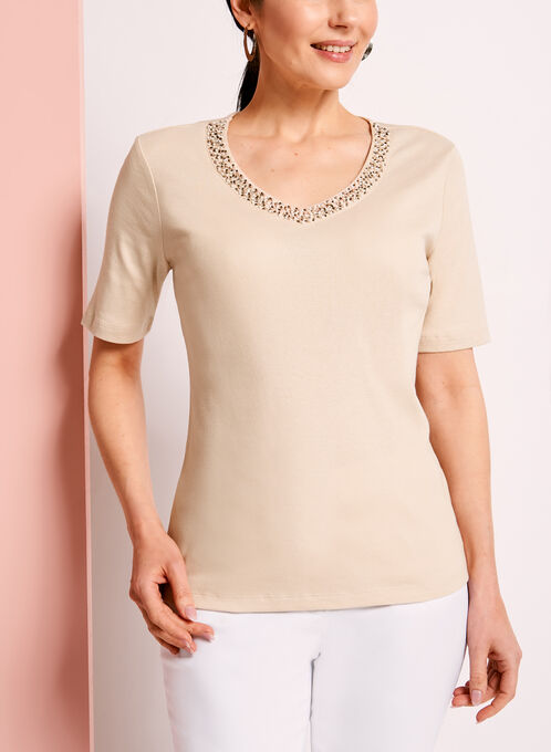 Elbow Sleeve Beaded Trim T-Shirt, Off White, hi-res