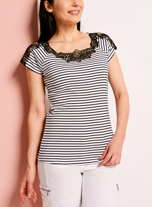 Stripe Print Lace Trim Cotton T-Shirt, White, hi-res