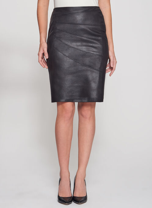 Cracked Faux Suede Pencil Skirt, Black, hi-res