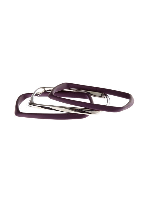 Metal & Rubber Bangle Set, Purple, hi-res
