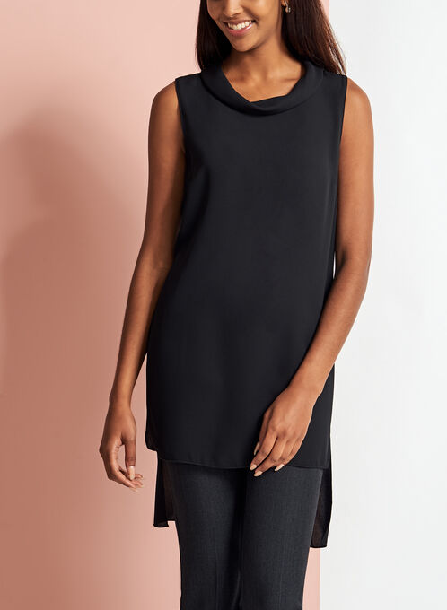 Cowl Neck Sleeveless Tunic Blouse, Black, hi-res